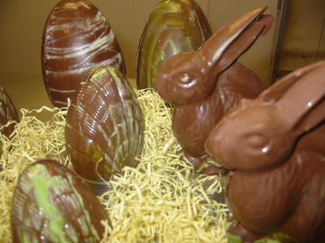 Chocolate Easter eggs and bunnies